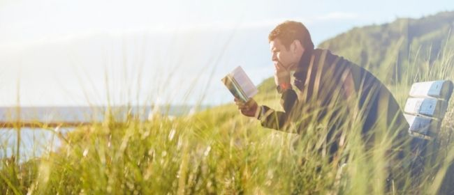 Man reading book on bench outside in grass.