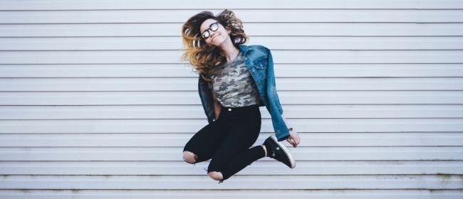 Girl jumping up