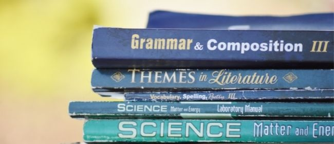 Stack of textbooks.